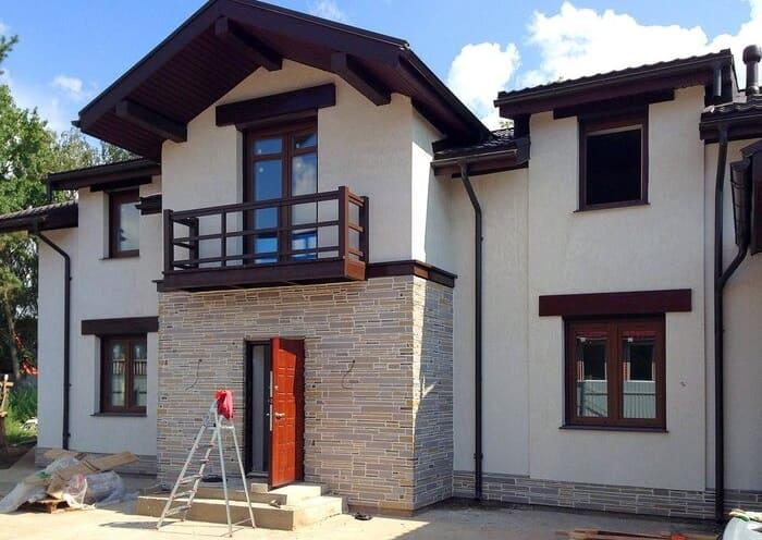 Фасад дома из газобетона